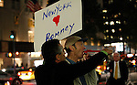 A Mitt Romney Supporter fights with a Barack Obama supporter out side Waldorf-Astoria Hotel, the venue for the 67th Annual Alfred E. Smith Memorial Foundation Dinner in New York, United States. 18/10/2012. by Kena Betancur / VIEWpress.
