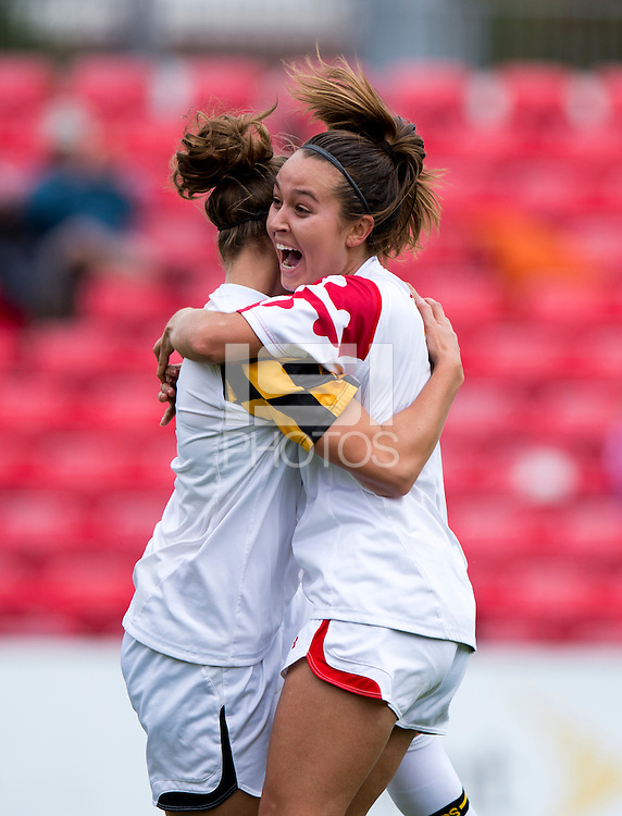 Cory Ryan (3) of Maryland celebrates her goal with teammate Aubrey Baker (4)  at Ludwig Field on the campus of the University of Maryland in College Park, MD. DC. Duke defeated Maryland, 2-1.