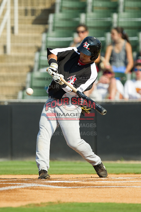 Hirotoshi Onaka (29) of the Hickory Crawdads takes his swings against the Kannapolis Intimidators at CMC-Northeast Stadium on July 28, 2013 in Kannapolis, North Carolina.  The Crawdads defeated the Intimidators 6-1.  (Brian Westerholt/Four Seam Images)