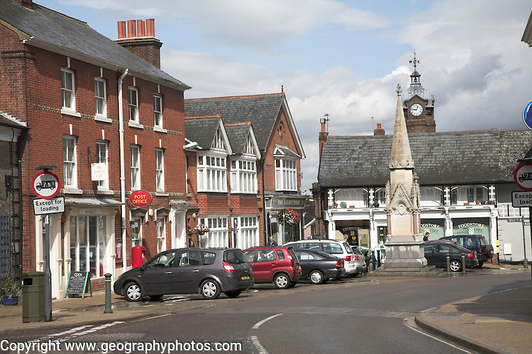 Town centre Eye, Suffolk, England. The name Eye comes from the ancient word for 'island' since at one time the settlement was surrounded by marsh and water.
