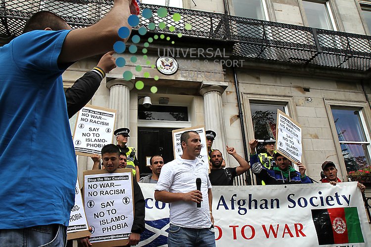 A protest by the Scottish Afghan Society and Stop the war Coalition on the steps of the American Consulate in protest at the proposed burning of the koran by a church in Gainsville, Florida.<br /> Picture: Universal News And Sport (Scotland) 9 September 2010.
