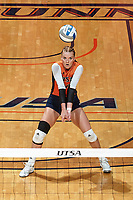 SAN ANTONIO, TX - SEPTEMBER 19, 2017: The University of Texas at San Antonio Roadrunners fall to the University of Texas Longhorns 3-0 (25-18, 26-24, 25-22) at the UTSA Convocation Center. (Photo by Jeff Huehn)