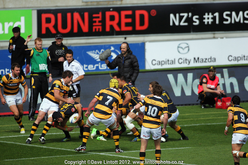 Charlie Ngatai takes the ball up during the ITM Cup rugby union match between Wellington Lions and Taranaki at Westpac Stadium, Wellington, New Zealand on Sunday, 14 October 2012. Photo: Dave Lintott / lintottphoto.co.nz