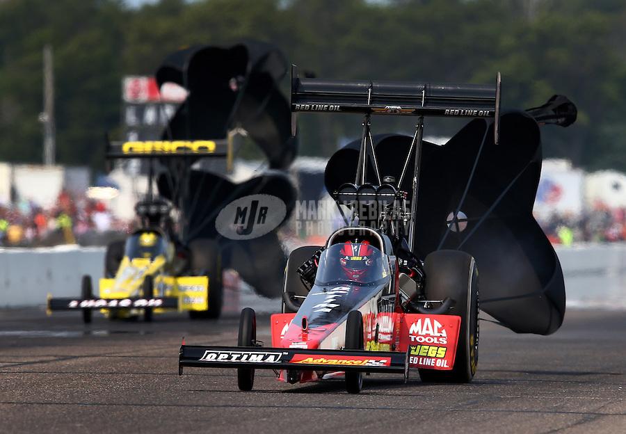 Aug. 18, 2013; Brainerd, MN, USA: NHRA top fuel dragster driver David Grubnic during the Lucas Oil Nationals at Brainerd International Raceway. Mandatory Credit: Mark J. Rebilas-