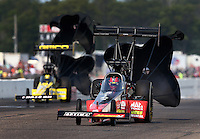 Aug. 18, 2013; Brainerd, MN, USA: NHRA top fuel dragster driver David Grubnic during the Lucas Oil Nationals at Brainerd International Raceway. Mandatory Credit: Mark J. Rebilas-