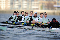 "London; GREAT BRITAIN; Both Cambridge crews racing  University Trial Eights for crew selection for 157th Boat Race [April 2011]  raced over the Championship Course Putney to Mortlake  on the River Thames. Wednesday  - 08/12/2010   [Mandatory Credit; ""Photo, Peter Spurrier/Intersport-images].Crew:  CUBC Shake; Surrey Station, Bow, Jamie LOGIE, 2. Andrew VIQUERTAT, 3. James STRAWSON, 4. Ben EVANS, 5. Dan RIX-STANDING, 6. Hardy CUBASCH, 7. George NASH, stroke. Joel JENNINGS and cox Tom FIELDMAN."