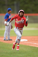 St. Louis Cardinals outfielder Anthony Ray (4) in the park home run during a minor league spring training game against the New York Mets on March 27, 2014 at the Port St. Lucie Training Complex in St. Lucie, Florida.  (Mike Janes/Four Seam Images)