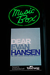 Theatre Marquee as Taylor Trensch takes his bows as the newest Evan in 'Dear Evan Hansen' on Broadway at the Music Box Theatre on February 6, 2018 in New York City.