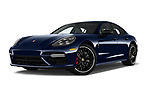 Stock pictures of low aggressive front three quarter view of 2018 Porsche Panamera Turbo 5 Door Hatchback Low Aggressive