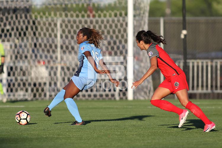 Piscataway, NJ - Saturday June 3, 2017: Kayla Mills, Nadia Nadim during a regular season National Women's Soccer League (NWSL) match between Sky Blue FC and the Portland Thorns at Yurcak Field.  Portland defeated Sky Blue, 2-0.