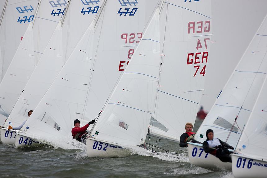 Medemblik - the Netherlands, May 28th 2010. Delta Lloyd Regatta in Medemblik (26/30 May 2010). Day 3. 470 men.