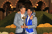 Winning captain Jose Maria Olazabal and Ian Poulter with the Ryder Cup at the end of Sunday's singles matches at the Ryder Cup 2012, Medinah Country Club,Medinah, Illinois,USA 30/09/2012.Picture: Fran Caffrey/www.golffile.ie.
