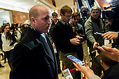 White House Correspondents' Association President Jeff Mason speaks with the press in the lobby of Trump Tower following a meeting with Trump communications chief Sean Spicer at Trump Tower in New York, NY, USA on January 5, 2017. <br /> Credit: Albin Lohr-Jones / Pool via CNP