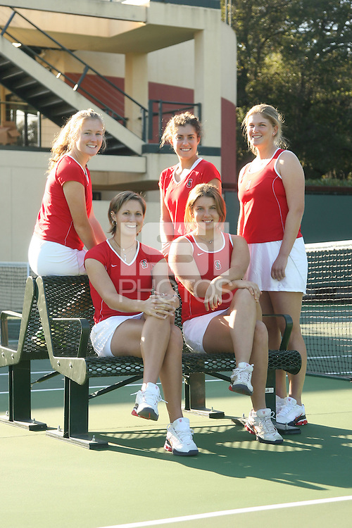 9 January 2007: Theresa Logar, Anne Yelsey, Whitney Deason, Lejla Hodzic and Celia Durkin during a cover shoot at the Taube Family Tennis Center in Stanford, CA.