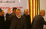 Hamas leader Ismail Haniya and Hamas's leader in the Gaza Strip Yahya Sinwar arrive before a meeting with heads of Palestinian families in Gaza city on December 26, 2017. Photo by Ashraf Amra