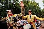Matadors David Mora (L) and Ivan Fandiño (R) celebrate after cutting two ears during the San Fermin festival, on July 10, 2012, in the Northern Spanish city of Pamplona. The festival is a symbol of Spanish culture that attracts thousands of tourists to watch the bull runs despite heavy condemnation from animal rights groups. (c) Pedro ARMESTRE