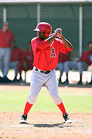 Jerome Moore #27 of the Los Angeles Angels plays in a minor league spring training game against the Chicago Cubs at the Angels minor league complex on April 4, 2011  in Tempe, Arizona. .Photo by:  Bill Mitchell/Four Seam Images.