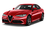 2018 Alfa Romeo Giulia Quadrifoglio Base 4 Door Sedan angular front stock photos of front three quarter view