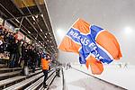 Stockholm 2016-02-12 Bandy Elitserien Hammarby IF - Bolln&auml;s GIF :  Bolln&auml;s supportrar med en flagga i sn&ouml;v&auml;dret under bandymatchen i Elitserien mellan Hammarby och Bolln&auml;s den 12 Februari 2016 i Stockholm. <br /> (Foto: Kenta J&ouml;nsson) Nyckelord:  Elitserien Bandy Hammarby Bolln&auml;s publik
