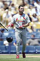 Jim Edmonds of the St. Louis Cardinals during a 2002 MLB season game against the Los Angeles Dodgers at Dodger Stadium, in Los Angeles, California. (Larry Goren/Four Seam Images)