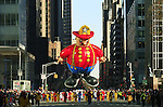 USA, NEW YORK, November 24, 2011.A fire fighter balloon floats in 6 avenue while American celebrated the Macy's Thanksgiving day parade in New York, November 24,2011. VIEWpress / Eduardo Munoz Alvarez..The Macy's parade is considered by many to be the official start of the holiday season. Balloons, bands and dignitaries trooped through midtown Manhattan Thursday morning for the 85th annual Macy's Thanksgiving Day Parade. Media Reported.