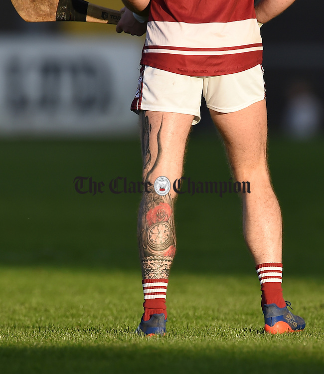 Ian Lyons of St Joseph's Doora Barefield sporting a decorative leg tattoo  during their Intermediate county final against Broadford in Cusack Park. Photograph by John Kelly.