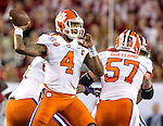 Clemson quarterback Deshaun Watson passes against Alabama in the first half of the 2017 College Football Playoff National Championship in Tampa, Florida on January 9, 2017.  Photo by Mark Wallheiser/UPI