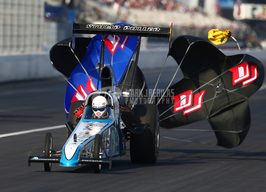 Feb 8, 2014; Pomona, CA, USA; NHRA top alcohol dragster driver Johnny Ahten during qualifying for the Winternationals at Auto Club Raceway at Pomona. Mandatory Credit: Mark J. Rebilas-