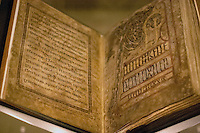 Open pages of the Lichfield Gospels or Book of Chad dated at around 730, which places it chronologically before the Book of Kells but after the Lindisfarne Gospels<br /> Some of its pages are in Old Welsh so it is AKA the the Llandeilo Gospels