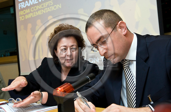 BRUSSELS - BELGIUM - 06 OCTOBER 2011 -- European Training Foundation (ETF) Corporate Conference 2011 at EP - ?Qualifications Frameworks, from Concepts to Implementation?. --(left) Madlen Serban, ETF Director and Aykut Engin, Turkish Employers' Association of Metal Industries (MESS) --  PHOTO: Juha ROININEN /  EUP-IMAGES