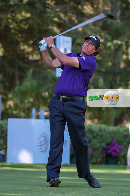 Phil Mickelson (USA) watches his tee shot on 8 during round 1 of the World Golf Championships, Mexico, Club De Golf Chapultepec, Mexico City, Mexico. 2/21/2019.<br /> Picture: Golffile | Ken Murray<br /> <br /> <br /> All photo usage must carry mandatory copyright credit (© Golffile | Ken Murray)