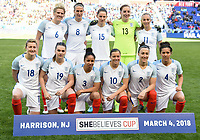 Harrison, N.J. - Sunday March 04, 2018: England starting eleven during a 2018 SheBelieves Cup match between the women's national teams of the Germany (GER) and England (ENG) at Red Bull Arena.