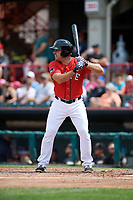Erie SeaWolves third baseman Zack Cox (14) at bat during a game against the Akron RubberDucks on August 27, 2017 at UPMC Park in Erie, Pennsylvania.  Akron defeated Erie 6-4.  (Mike Janes/Four Seam Images)