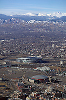 aerial view of Mile High Stadium Denver home of Denver Broncos with Rocky mountains in background, Denver, Colorado