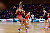 England's Chelsea Pitman in action during the International Netball - NZ Silver Ferns v England Roses at Te Rauparaha Arena, Porirua, New Zealand on Thursday 7 September 2017.<br /> Photo by Masanori Udagawa. <br /> www.photowellington.photoshelter.com