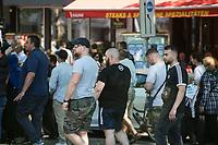 """Mitglieder der Gruppe """"Jugendwiderstand"""" marschierten am Samstag den 1. Juni 2019 in Berlin mit im antiisraelischen """"Al Quds-Marsch"""" gegen Israel. Alljaehrlich marschieren radikale Islamisten, Anhaenger der Hisbollah und der Diktatur im Iran zum Ende des islamischen Fastenmonats Ramadan durch Berlin und rufen zum Kampf gegen Israel auf. Sie wollen """"die Juden"""" aus Jerusalem (Quds) vetreiben und Israel vernichten.<br /> Die Gruppe """"Jugendwiderstand"""" ist in Berlin in der Oeffentlichkeit vorallem durch Gewalttaten gegen juedische Menschen und Linke aufgefallen. Sie selber bezeichnen sich als """"Marxisten-Leninisten-Maoisten"""".<br /> Am 9. Juni 2019 verkuendete die Gruppe nach 5 Jahren via Internet ihre Aufloesung.<br /> 1.6.2019, Berlin<br /> Copyright: Christian-Ditsch.de<br /> [Inhaltsveraendernde Manipulation des Fotos nur nach ausdruecklicher Genehmigung des Fotografen. Vereinbarungen ueber Abtretung von Persoenlichkeitsrechten/Model Release der abgebildeten Person/Personen liegen nicht vor. NO MODEL RELEASE! Nur fuer Redaktionelle Zwecke. Don't publish without copyright Christian-Ditsch.de, Veroeffentlichung nur mit Fotografennennung, sowie gegen Honorar, MwSt. und Beleg. Konto: I N G - D i B a, IBAN DE58500105175400192269, BIC INGDDEFFXXX, Kontakt: post@christian-ditsch.de<br /> Bei der Bearbeitung der Dateiinformationen darf die Urheberkennzeichnung in den EXIF- und  IPTC-Daten nicht entfernt werden, diese sind in digitalen Medien nach §95c UrhG rechtlich geschuetzt. Der Urhebervermerk wird gemaess §13 UrhG verlangt.]"""