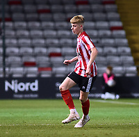 Lincoln City U18's Josh Woodcock<br /> <br /> Photographer Andrew Vaughan/CameraSport<br /> <br /> The FA Youth Cup Second Round - Lincoln City U18 v South Shields U18 - Tuesday 13th November 2018 - Sincil Bank - Lincoln<br />  <br /> World Copyright © 2018 CameraSport. All rights reserved. 43 Linden Ave. Countesthorpe. Leicester. England. LE8 5PG - Tel: +44 (0) 116 277 4147 - admin@camerasport.com - www.camerasport.com