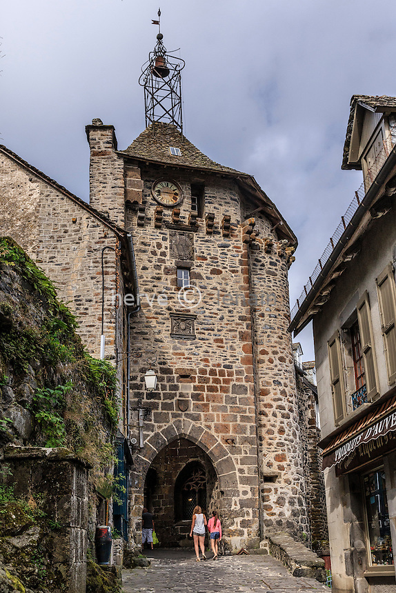 France, Cantal (15), Salers,  labellis&eacute; Les Plus Beaux Villages de France , la Porte du Beffroi // France, Cantal, Salers,  labelled Les Plus Beaux Villages de France, (The Most beautiful<br /> Villages of France), Gate Belfry