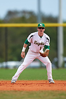 Community College of Rhode Island Knights second baseman Travis Collins (14) during a game against the Genesee Community College Cougars on March 20, 2016 at Lake Myrtle Park in Auburndale, Florida.  CCRI defeated Genesee 23-4.  (Mike Janes/Four Seam Images)