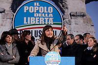 La candidata presidente della Regione Lazio per il PdL (Popolo della Liberta') Renata Polverini durante la manifestazione a Roma, 4 marzo 2010, contro l'esclusione dalle elezioni in seguito alla mancata ammissione della lista civica e della lista del PdL..UPDATE IMAGES PRESS/Riccardo De Luca