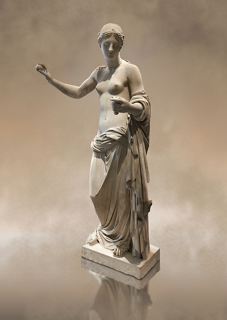The Venus of Arles (  Greek Goddess Aphrodite) is a 1.94-metre-high (6.4ft) marble sculpture of Venus probably a copy of the Aphrodite of Thespiae by 4th century BC Greek Athenian sculpture Praxiteles . Louvre Museum, Paris.