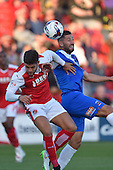 11/08/2015 Capital One Cup, First Round Fleetwood Town v Hartlepool United<br /> Billy Paynter, challenges with Danny Andrew