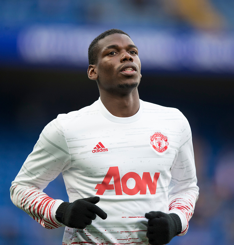 Manchester United's Paul Pogba during the pre-match warm-up <br /> <br /> Photographer Craig Mercer/CameraSport<br /> <br /> The Premier League - Chelsea v Manchester United - Sunday 23rd October 2016 - Stamford Bridge - London<br /> <br /> World Copyright &copy; 2016 CameraSport. All rights reserved. 43 Linden Ave. Countesthorpe. Leicester. England. LE8 5PG - Tel: +44 (0) 116 277 4147 - admin@camerasport.com - www.camerasport.com