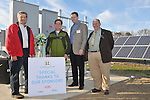 "Left to right, Earl ""Buddy"" Hance, Maryland Secretary of Agriculture; Trey Hill, Partner, Harborview Farms; John Chrosniak, Director, North America DuPont Crop Protection and Richard Sossi, liaison for Maryland Congressman Andy Harris prepare to activate a new 200 kW solar array at the Sustainable Agriculture Celebration at Harborview Farms on Thursday, December 6, 2012 in Rock Hall, MD. Harborview Farms is one of the largest and most sustainably driven farming operations in Maryland. (Larry French/AP Images for DuPont).."