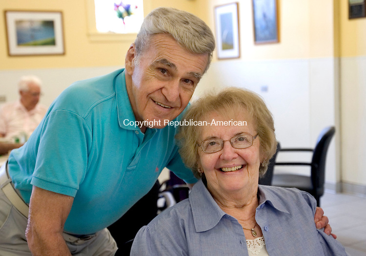 MIDDLEBURY CT. 24 July 2014-072414SV07-Vincent and Vittoria Cavalea of Middlebury attend the Ice Cream Social at the Middlebury Senior Center in Middlebury Thursday. <br /> Steven Valenti Republican-American