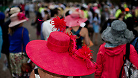 LOUISVILLE, KY - MAY 05: A woman wears a fancy pink hat on Kentucky Derby Day at Churchill Downs on May 5, 2018 in Louisville, Kentucky. (Photo by Scott Serio/Eclipse Sportswire/Getty Images)