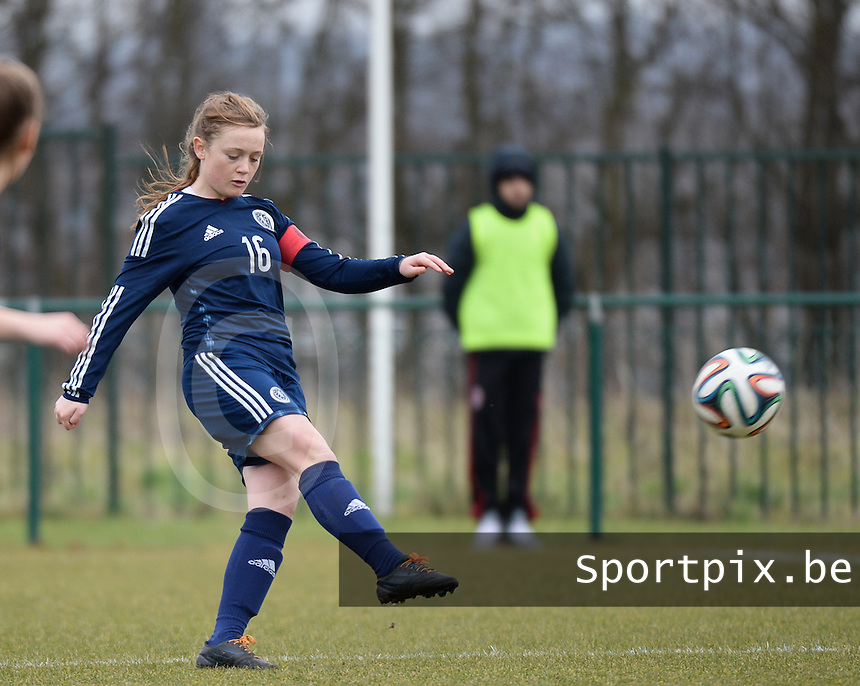 20150226 - Tubize , Belgium : Scottish Erin Cuthbert pictured during the friendly female soccer match between Women under 17 teams of  Belgium and Scotland  . Thursday 26th February 2015 . PHOTO DAVID CATRY