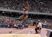Shara PROCTOR of GBR as she competes in the long Jump which she jumped a British Record during the Sainsbury's Anniversary Games, Athletics event at the Olympic Park, London, England on 25 July 2015. Photo by Andy Rowland.