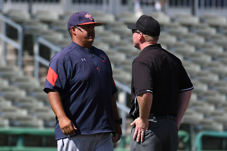May 25, 2017; Stockton, CA, USA; Saint Mary's Gaels head coach Eric Valenzuela during the WCC Baseball Championship at Banner Island Ballpark.
