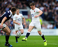 Owen Farrell of England puts boot to ball. RBS Six Nations match between England and Scotland on March 11, 2017 at Twickenham Stadium in London, England. Photo by: Patrick Khachfe / Onside Images